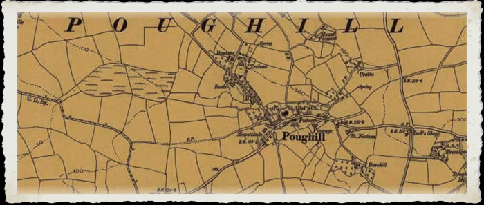 Victorian Map of Poughill Cornwall